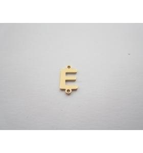 1 connettore 2 fori lettera E argento 925 placcato oro giallo misure 11 x 6 mm