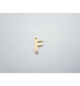 1 connettore 2 fori lettera F argento 925 placcato oro giallo misure 11 x 6 mm