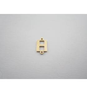1 connettore 2 fori lettera H argento 925 placcato oro giallo misure 11 x 6 mm