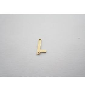 1 connettore 2 fori lettera L argento 925 placcato oro giallo misure 11 x 4 mm