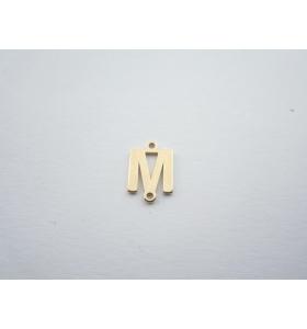 1 connettore 2 fori lettera M argento 925 placcato oro giallo misure 11 x 4 mm
