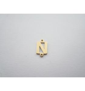 1 connettore 2 fori lettera N argento 925 placcato oro giallo misure 11 x 4 mm