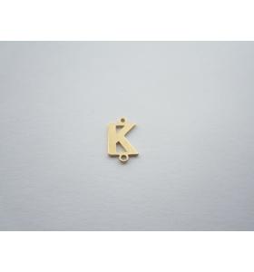 1 connettore 2 fori lettera K argento 925 placcato oro giallo misure 11 x 4 mm