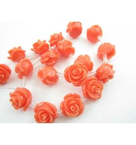 1 filo di 20 roselline in composto corallo cristallizzato 17x13 mm rosa/arancio