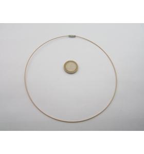 2 girocollo cavetto acciaio dorato rivestito 1,1 mm chiusura a vite lungo 46 cm