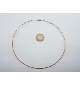 2 girocollo cavetto acciaio color bronzo rivestito 1,1 mm chiusura a vite lungo 46 cm