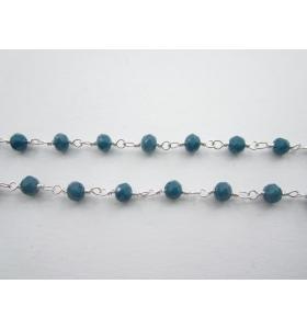 50 cm catena rosario tono argento concatenato cristallo blu petrolio di 3,5 mm
