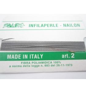 1 infila perle professionale grigio polvere + ago in rame 180 cm n° da 1 a 9
