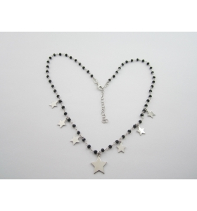 collana girocollo regolabile in argento 925 rodiato e onice nera stelline italy
