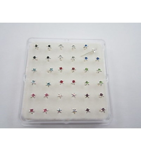 1 scatola di 36 orecchini da naso in argento 925 mixcolor forma stella di 3,5 mm