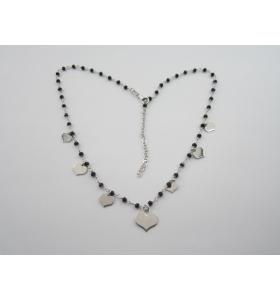 collana girocollo regolabile in argento 925 rodiato e onice nera cuoricini italy