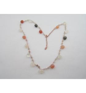 collana girocollo regolabile in argento 925 placcato oro rosè e pietra di luna