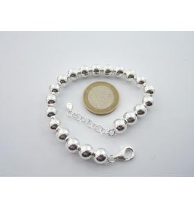 1 bracciale sfere lisce di 8 mm in argento 925 made in itali regolabile da 18 a 21 cm