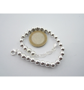 1 bracciale sfere lisce di 6 mm in argento 925 made in italy regolabile da 18 a 21 cm