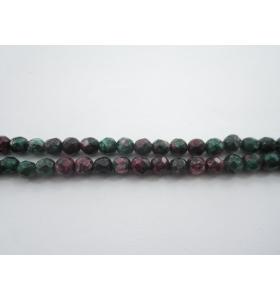 1 filo di rubino zoisite naturale sfaccettate di 4 mm lungo 37 cm