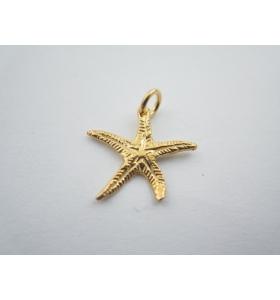 ciondolo charms stella marina in argento 925 placcato oro giallo 17x16 mm italy