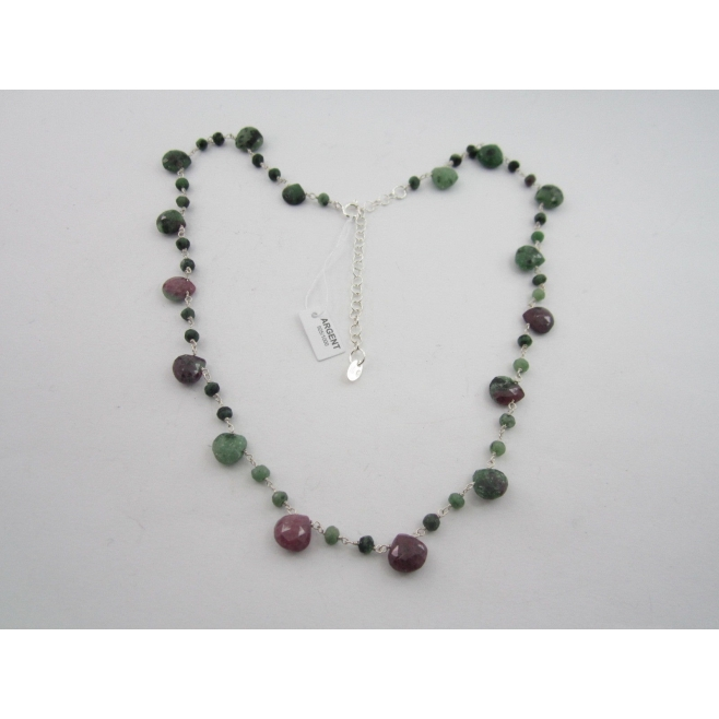 collana girocollo regolabile in argento 925 e zoisite in rubino taglio briolè