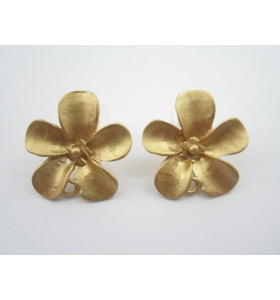 2 basi x orecchini in zama placcato oro giallo effetto satinato diametro 27 mm