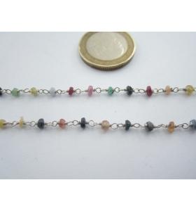 10 cm catena concatenata tipo rosario argento 925 e pietre mix color 3x1,5 mm