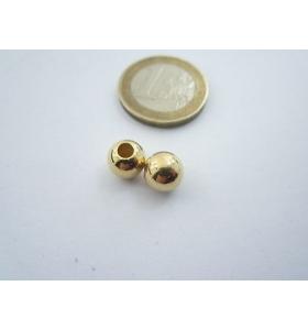1 pallina in argento 925 placcato oro giallo lucido di 8 mm foro 3,10 mm italy