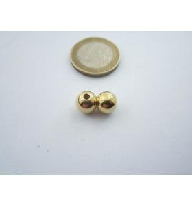 1 pallina in argento 925 placcato oro giallo di 7 mm foro 1,50 mm