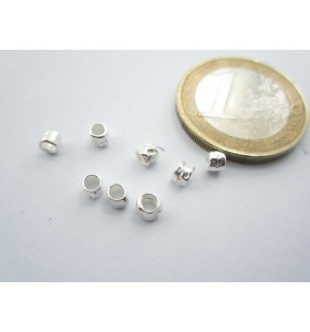 4 componenti in argento 925 di 3 x 2,5 mm foro 2 mm made in italy