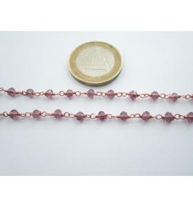 '1 metro catenina rosario color rosè concatenata viola 2 - 3,5 mm