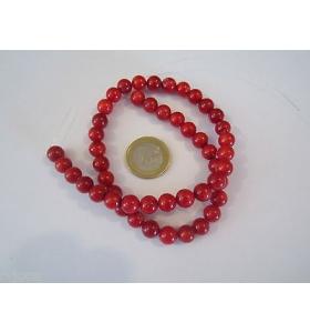 1filo di corallo bambù rosso 476/49 di 7/8 mm lungo 40 cm
