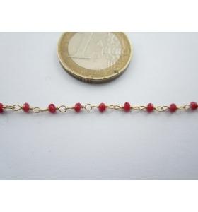 17 cm di catena rosario in argento 925 placcato oro con giade rosse diamantate