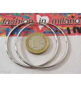 1 paio di orecchini cerchio metallo freenickel di 50 mm color argento