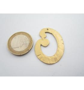 1 componente di 35x26 mm zama placcato oro giallo satinato ovale piatto grande