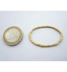 2 componentI zama di 35x26 mm placcato oro giallo satinato ovale tondo grande