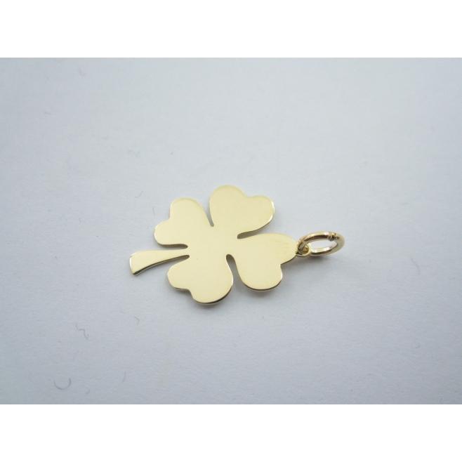 ciondolo charms quadrifoglio di 23x18 mm argento 925 placcato oro giallo italy