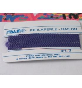 1 infila perle professionale viola scuro + ago in rame 180 cm n° da 1 a 9