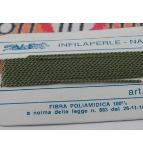1 infila perle professionale color verde bosco + ago in rame 180 cm n° da 1 a 9