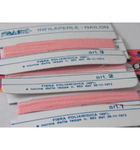 1 infila perle professionale color rosa + ago in rame 180 cm n° da 1 a 9