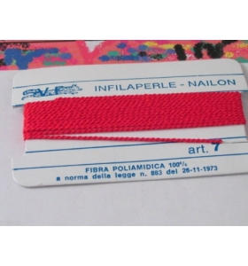 1 infila perle professionale colore rosso + ago in rame 180 cm n° da 1 a 9
