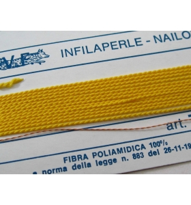 1 infila perle professionale color giallo sole + ago in rame 180 cm n° da 1 a 9
