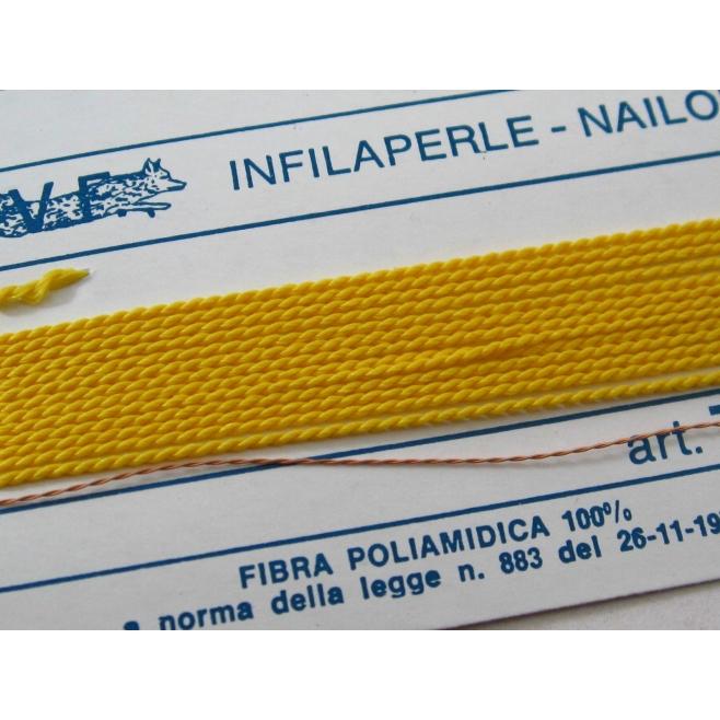1 infila perle professionale color giallo sole + ago in rame 180 cm n° da 1 a 9