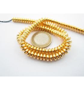 1 filo di rondelle cabochon in ematite dorato giallo di 6 x 3,5 mm lungo 40 cm