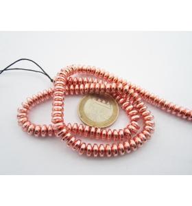 1 filo di rondelle cabochon in ematite dorato rosè di 6 x 3,5 mm lungo 40 cm