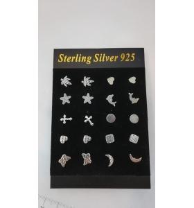 1 espositore con 10 paia di orecchini in argento 925 misure da 5 x 5 a 9 x 7 mm