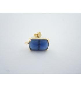 1 paio di basi orecchino tripla placcatura dorata con cristalli blu di 15x9 mm