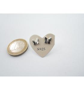 1 paio orecchini a lobo farfallina di 7 x 6,5 mm in argento 925 lucido