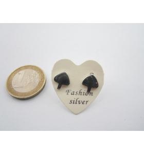 1 paio orecchini a lobo asso di picche di 10 x 9 mm in argento 925 lucido