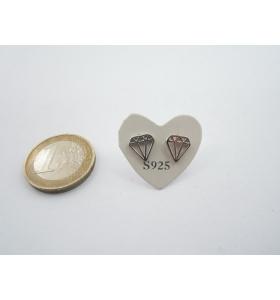 1 paio orecchini a lobo diamante di 8,5 x 8 mm in argento 925 lucido