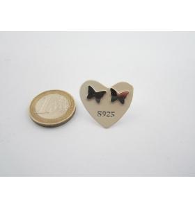 1 paio orecchini a lobo farfallina di 9,5 x 7 mm in argento 925 lucido