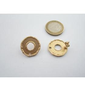 2 basi x orecchini tonde in zama placcato oro giallo satinato misure diam. 20 mm