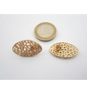 2 basi x orecchini ovali traforati in zama placcato oro giallo satinato 24x14 mm