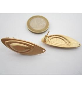 2 basi x orecchini ovali sbalzati in zama placcato oro giallo satinato 35x13 mm